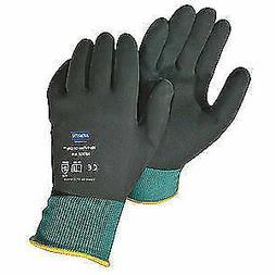HONEYWELL NORTH Coated Gloves,Nitrile,Green/Black,XL,PR, NF3