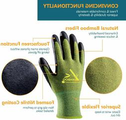 COOLJOB Bamboo Work Gloves Men and Women, 2 Pairs Breathable