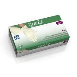 MEDLINE CURAD Powder-Free Textured Latex Exam Gloves,Beige,M