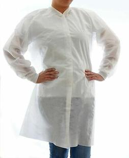 Dealmed Disposable Lab Coat, No Pockets, SMS, White, Pack of