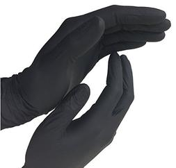 Disposable Black Nitrile Exam Powder Free Gloves, 100 Count