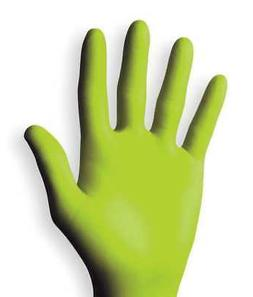 Disposable Gloves, Nitrile, L, Green, PK100