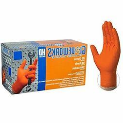 Disposable Gloves Diamond Texture Orange Nitrile Industrial