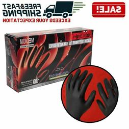 Disposable Gloves Rubber Black Nitrile Mechanic Food Exams P