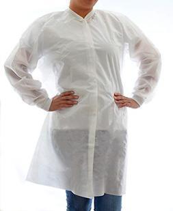 Dealmed Disposable SMS Lab Coat, No Pockets, White, Medium,