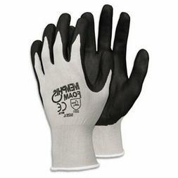 Economy Foam Nitrile Gloves, Large, Gray/Black, Dozen