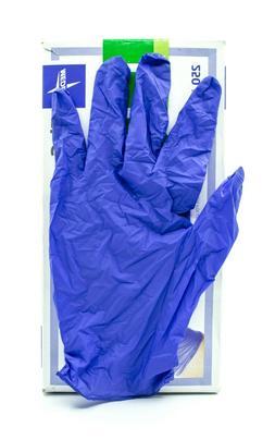 Medline FG2503H FitGuard Nitrile Exam Gloves, Large, Dark Bl