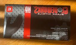 Ammex GloveWorks Black Nitrile Gloves- XL- 100ct/box- Heavy