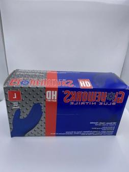 Ammex - GloveWorks Bllue Nitrile Gloves- LARGE 100ct/box- He