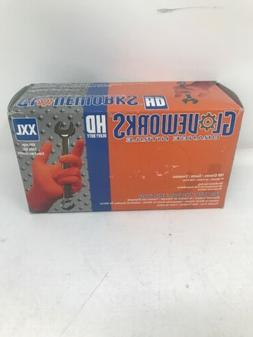 Ammex GLOVEWORKS HD Industrial Orange Nitrile Gloves 8 mil L