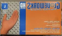 Ammex Gloveworks HD Orange Nitrile Box of 100 LARGE Heavy Du