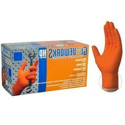 Ammex Gloveworks Orange Nitrile Gloves- XL- 100/ct box- GWON