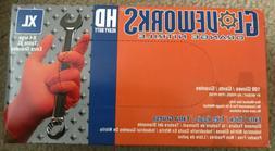 GLOVEWORKS Orange Nitrile Industrial Disposable Gloves  Size
