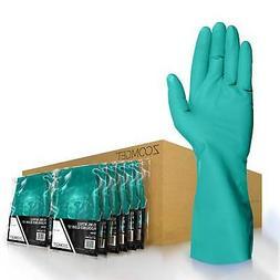 Zoomget Green Nitrile Flock-Lined Diamond Grip Work Gloves