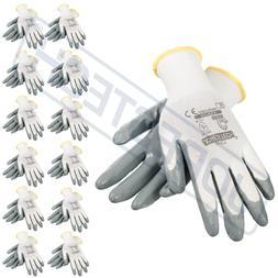 Grey Nitrile Dipped Poly Work Gloves  1 Dozen JORESTECH