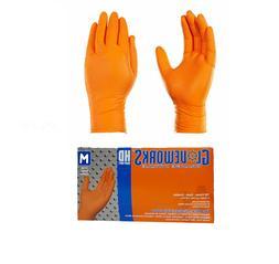 Ammex GWON46100 Gloveworks HD Orange Nitrile Gloves Medium,L