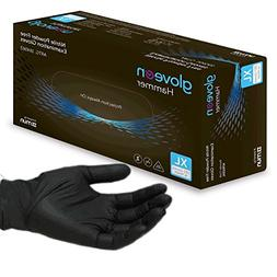 Hammer® Black Nitrile Exam Tattoo Gloves, Powder Free, Late
