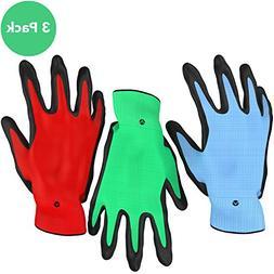 Vremi Heavy Duty Gardening Gloves for Men and Women - 3 Pack