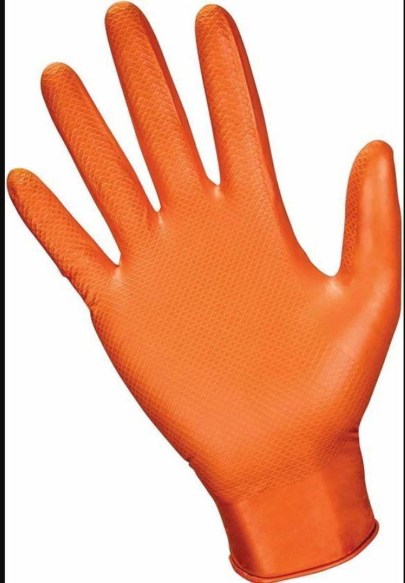100-1000 SAS Grip 7mil Gloves, Orange,
