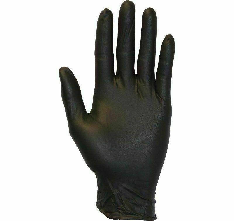 100 Pack Black Gloves Nitrile Powder Free Rubber Heavy Duty Durable Large