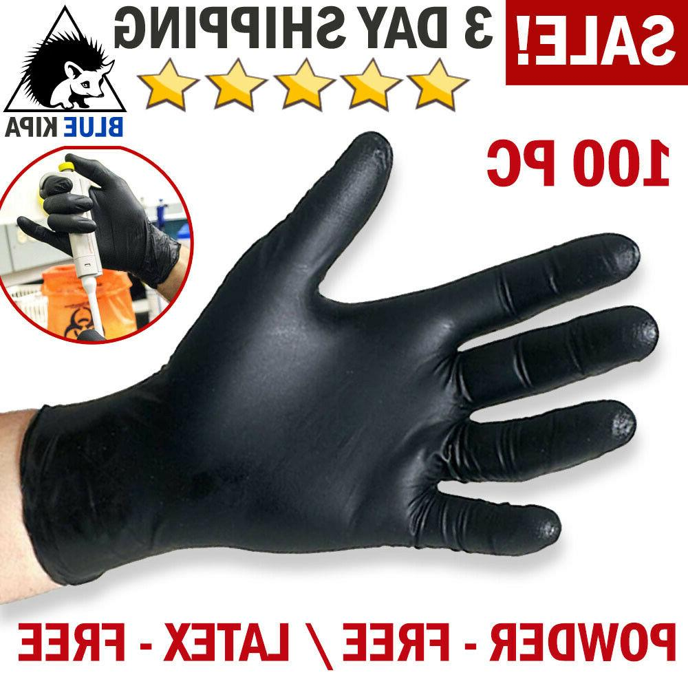100 Black Nitrile Gloves Disposable Mechanic Food Exam Glove