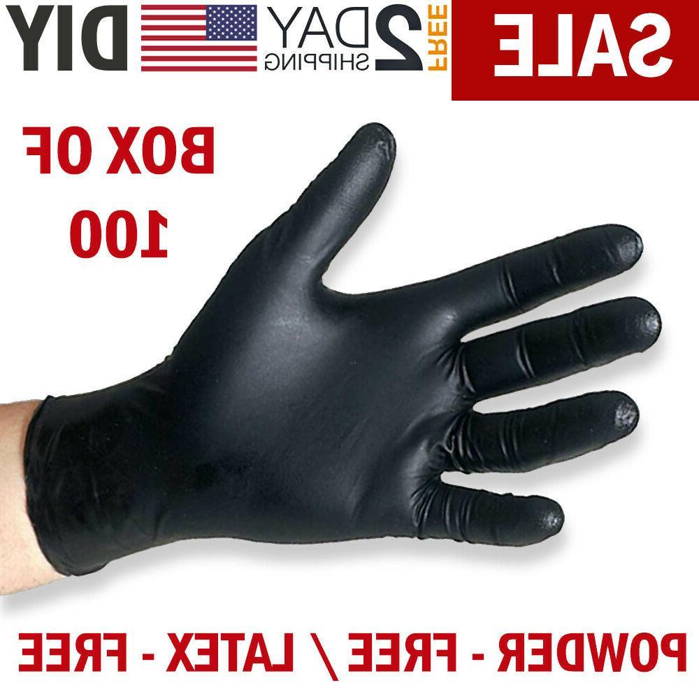 100 black nitrile gloves disposable mechanic food