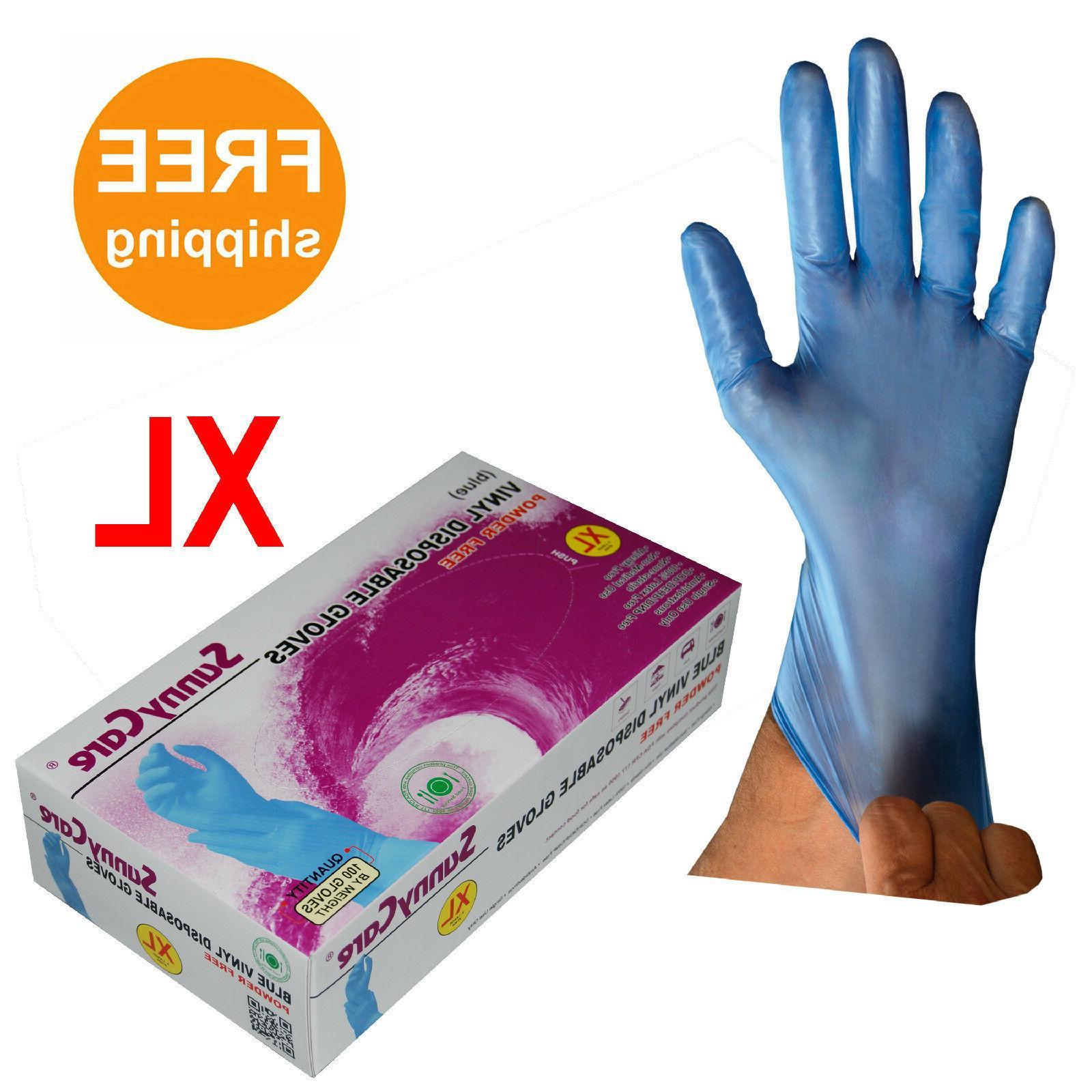 100 blue vinyl disposable gloves