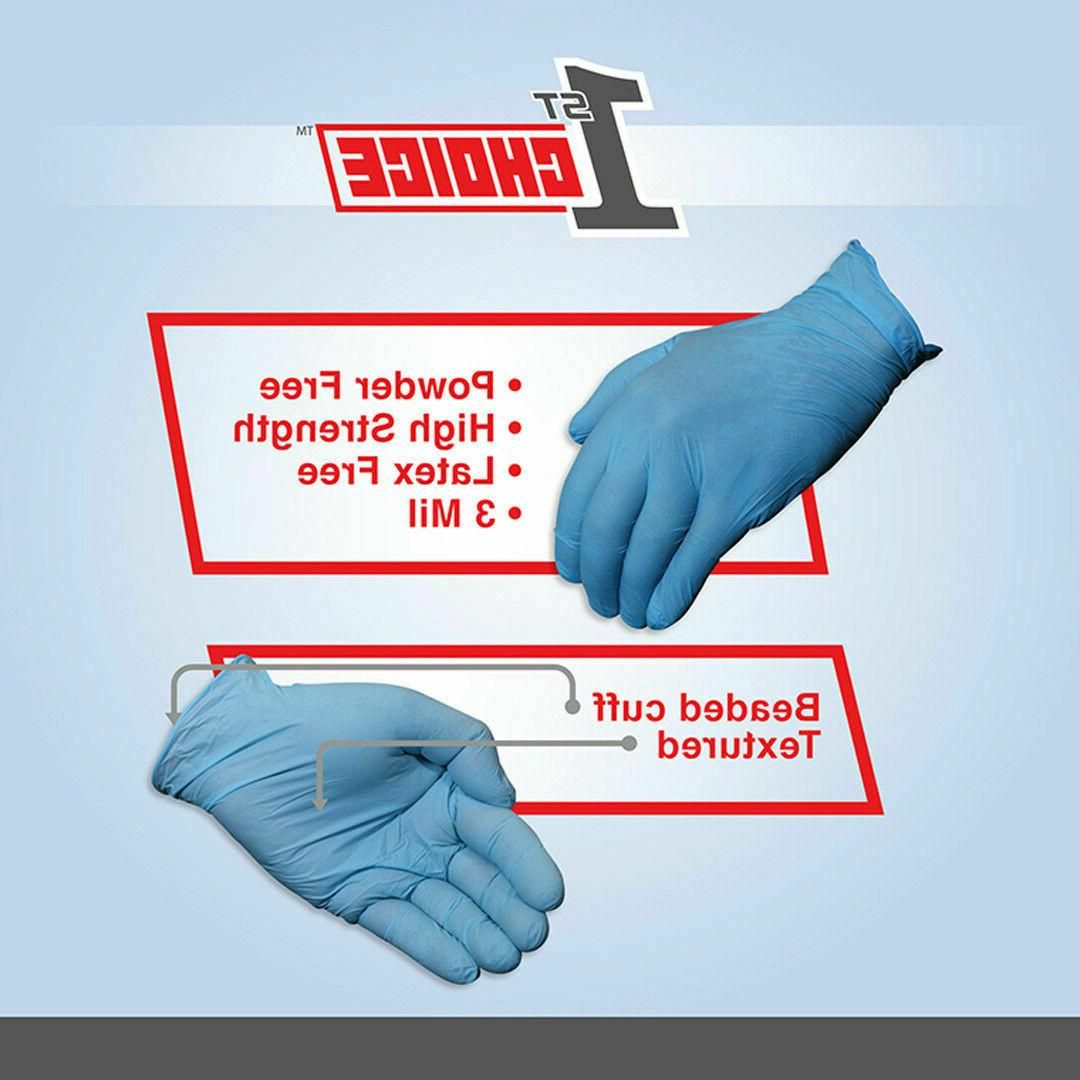 100 Choice Blue Nitrile Free Mil Industrial Gloves