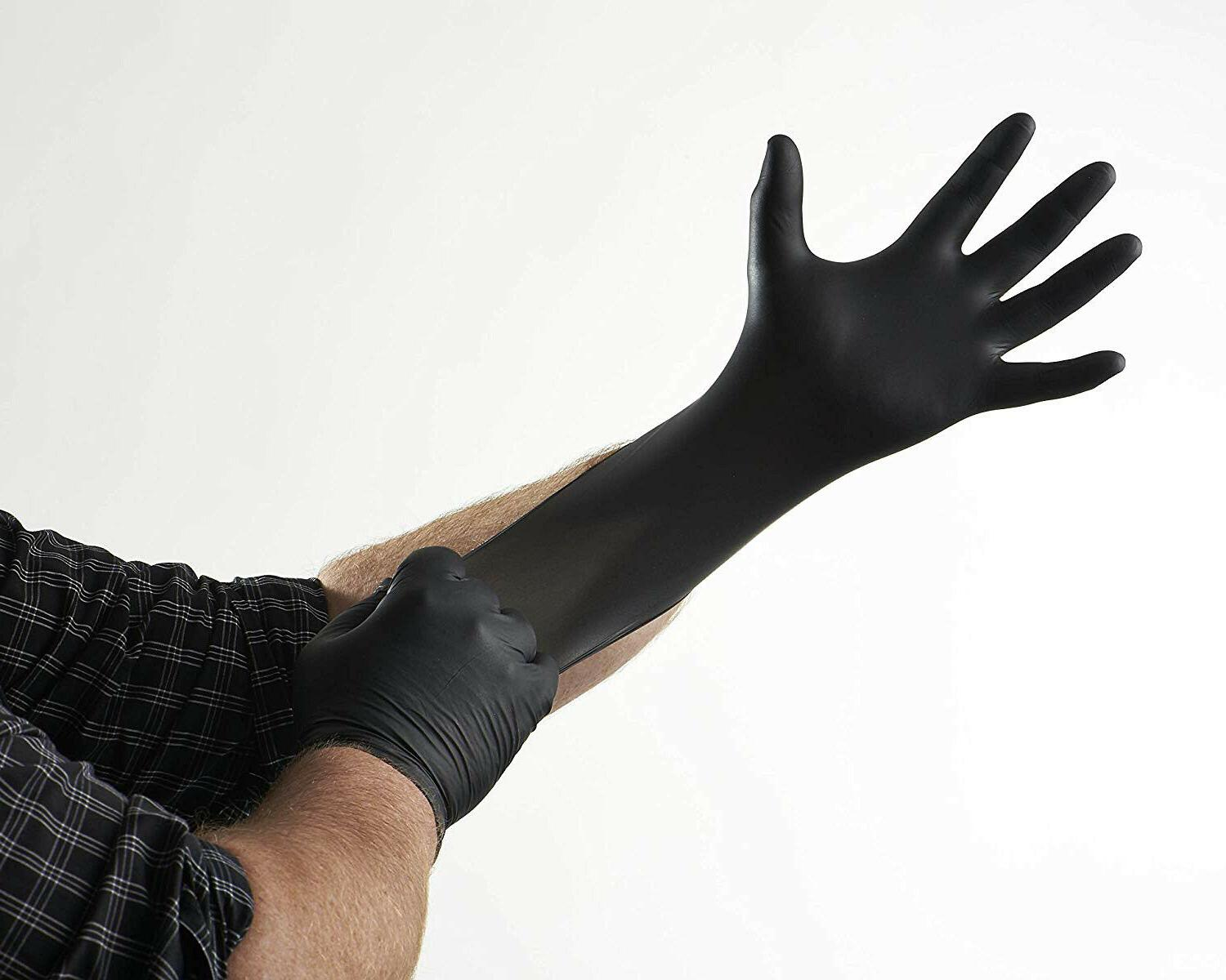 100 Nitrile Gloves Black L Slip Powder
