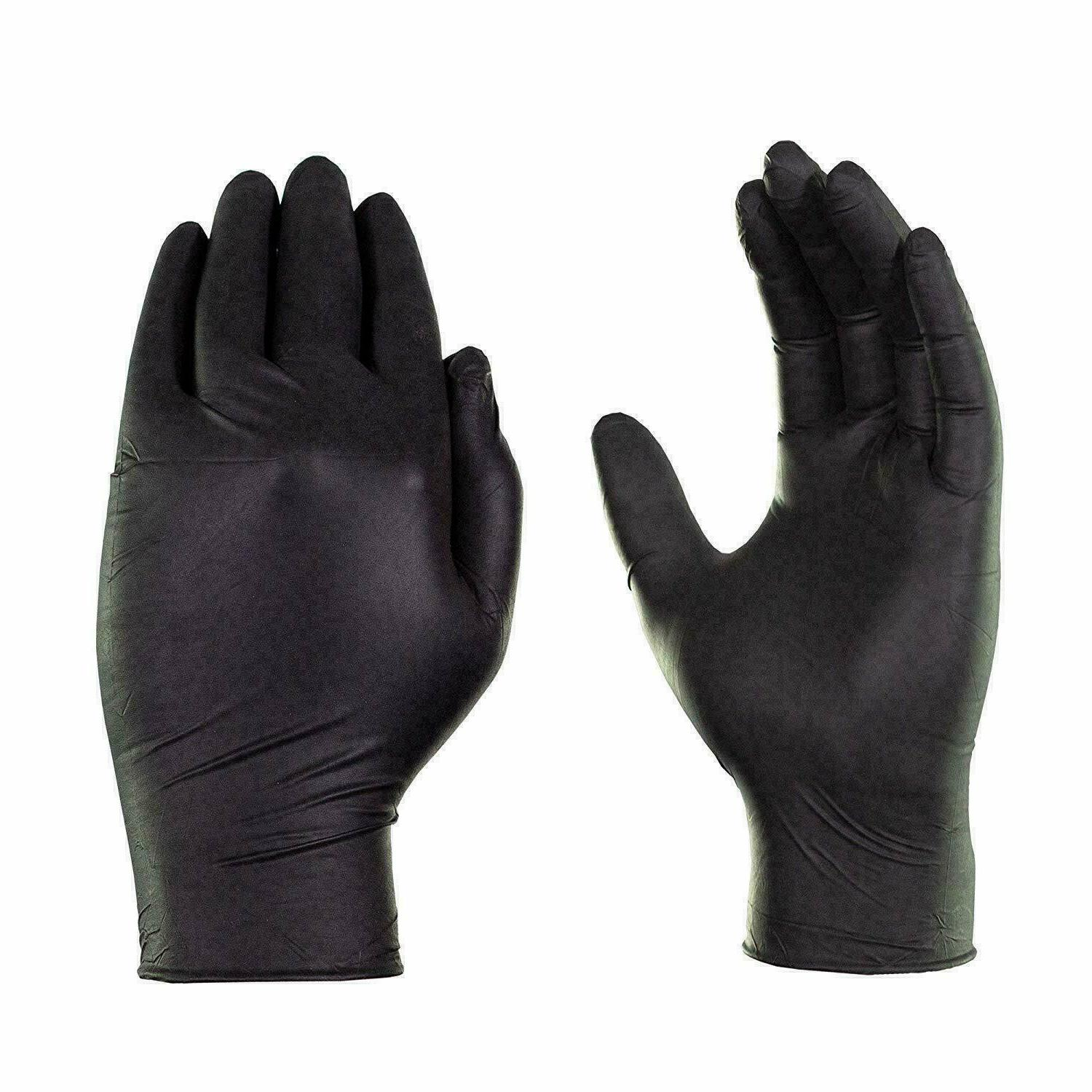 100 Pack Black Gloves Nitrile Powder Free Latex Rubber Heavy