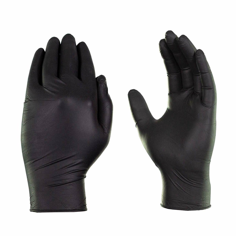 100 pack black gloves nitrile powder free