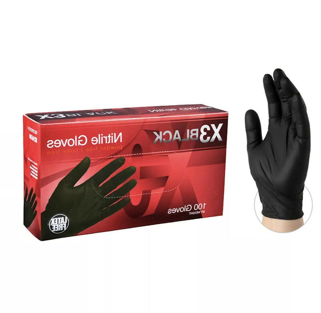 100 pcs bx3 black nitrile powder free