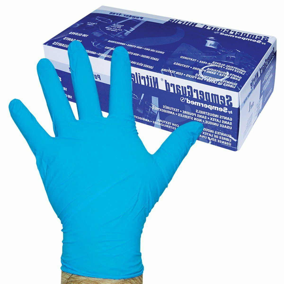 100 Pcs Nitrile Gloves Medium Blue Sterile Lab Safety Dispos