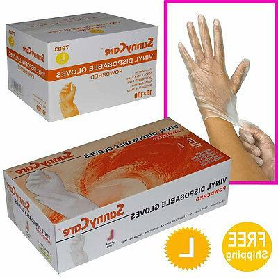 SunnyCare 1000 Vinyl Disposable Gloves Powdered   L