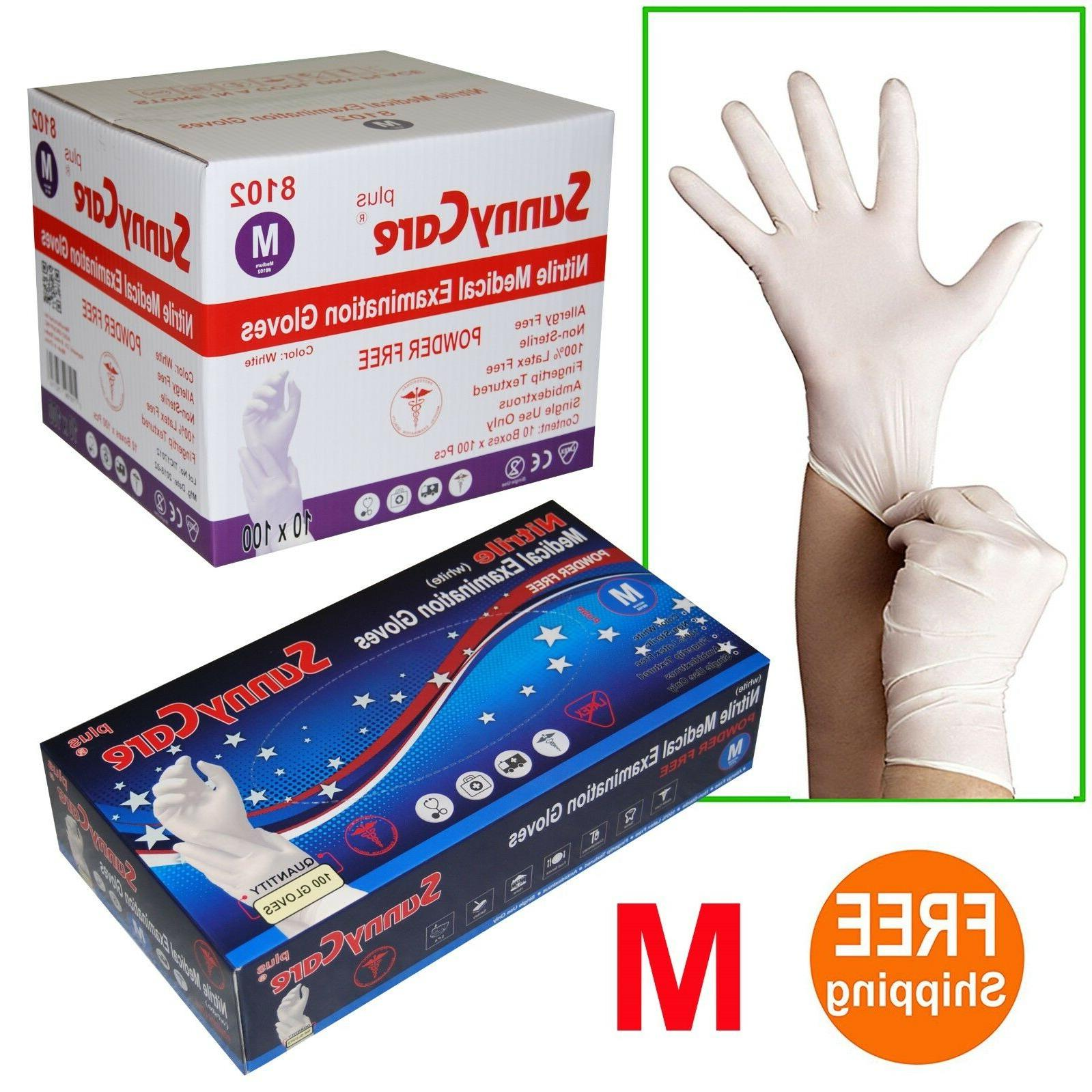 1000 white nitrile medical exam gloves powder