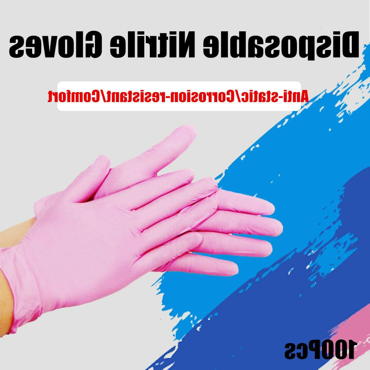 100Pcs Disposable Nitrile Gloves Rubber Latex Kitchen Househ