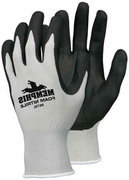 12 pairs of large foam nitrile gloves