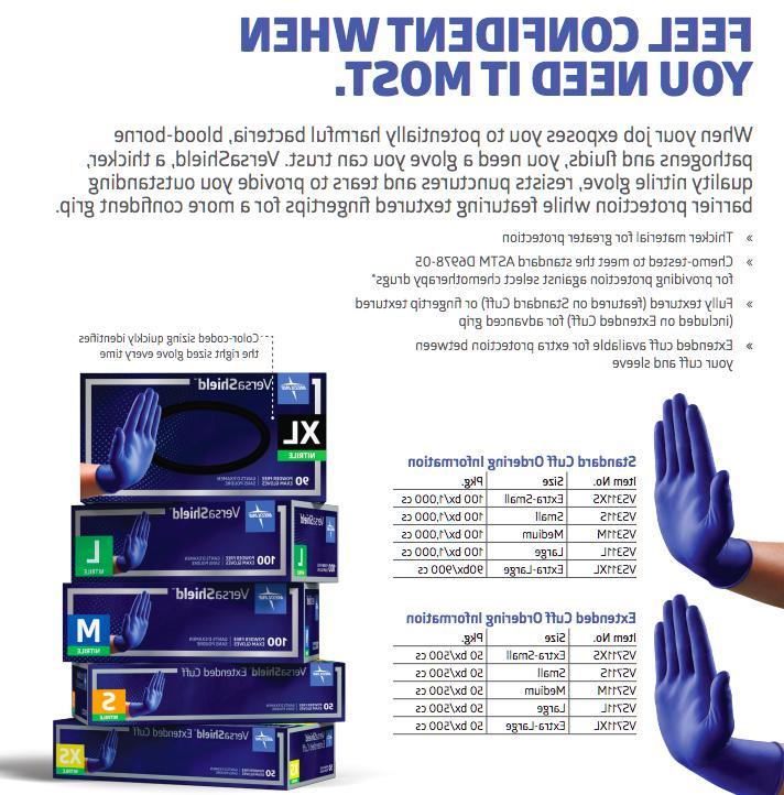 2 50/Box Medline VersaShield PowderFree Medium