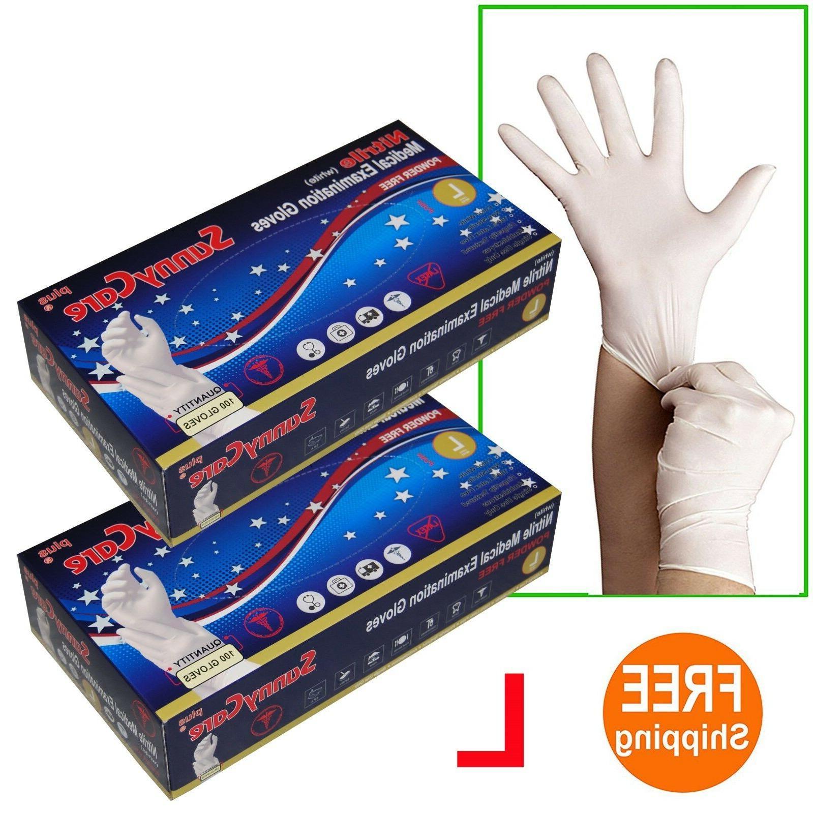 200 2boxes white nitrile medical exam gloves