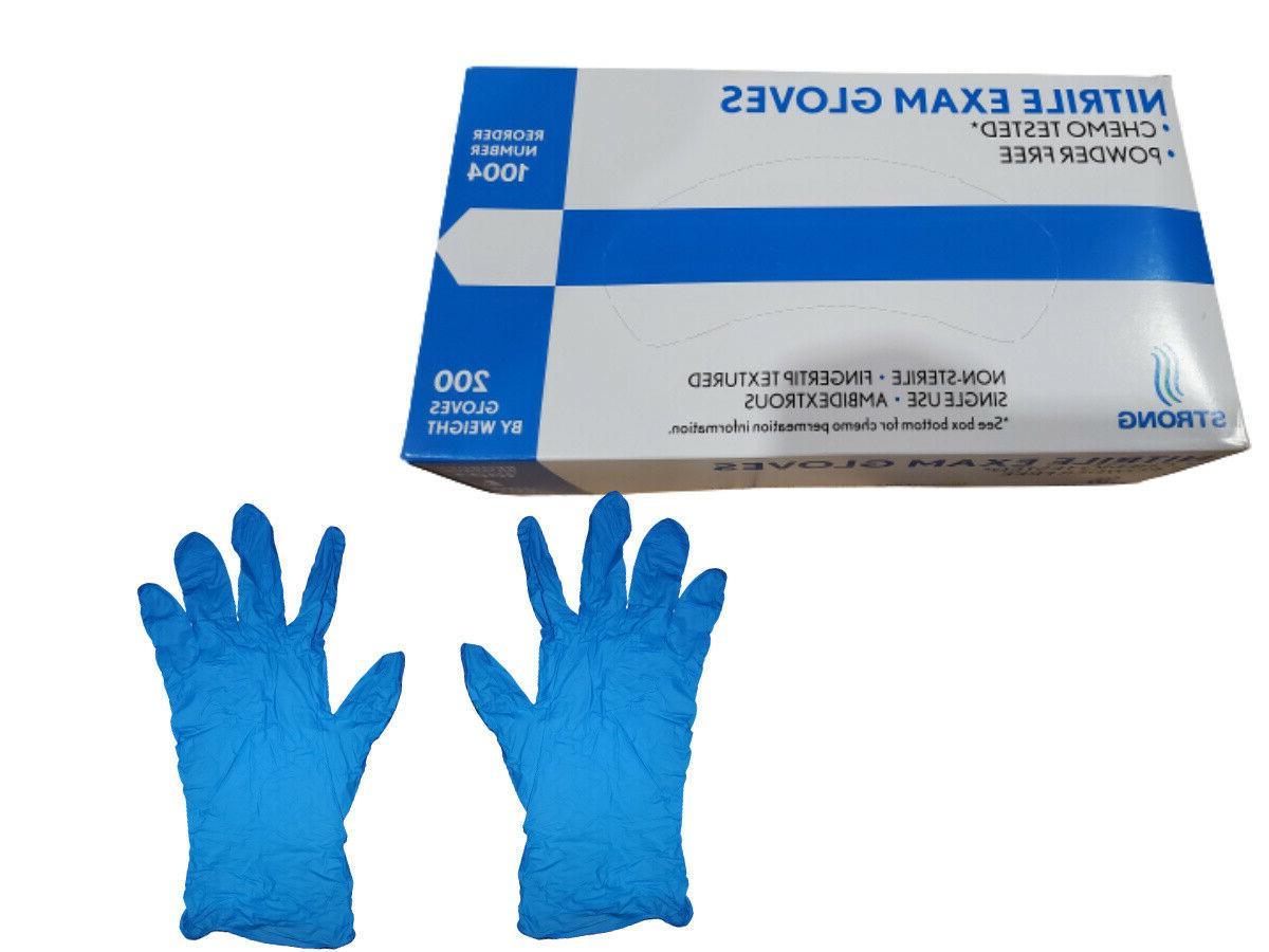 200 per box blue nitrile exam gloves