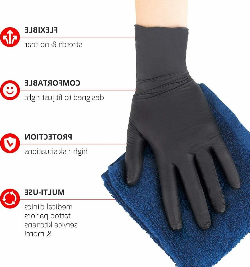 50 100 or 300 Black Nitrile-PVC & Latex free Gloves Size M L