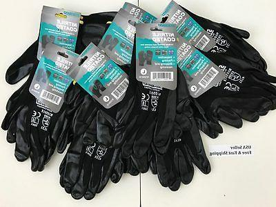 3-6-12 pairs Nitrile Coated Gloves For Construction Grip, Wo