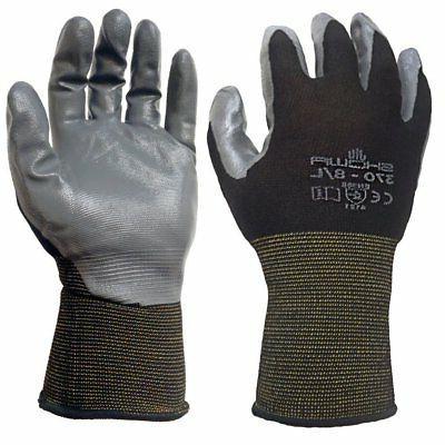 Showa 370 Black Nitrile Dipped Pair of Gloves Medium 12 Pack