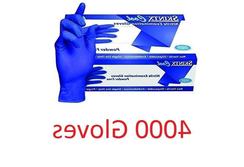 4000 SKINTX COOL Blue Nitrile Exam Powder Free Gloves Small