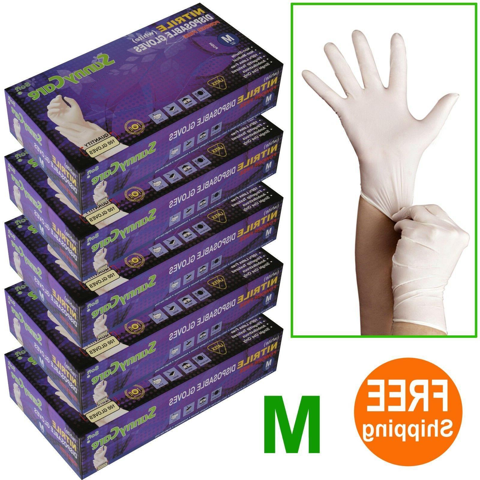 500 5boxes white nitrile disposable gloves powder