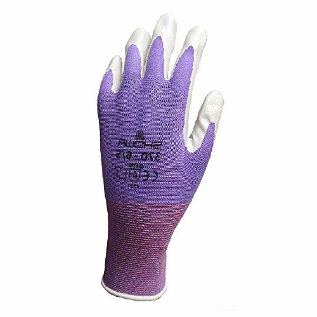 6 Pack Showa Atlas NT370 Nitrile Garden Gloves - Medium