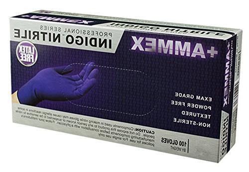 AMMEX - Medical Nitrile Disposable, Powder Free, Exam Grade, mil, Indigo