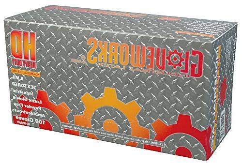 AMMEX ILHD49100-BX Latex Gloves - - Powder Industrial, mil, Ivory