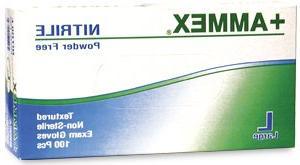 "+Ammex Exam Grade Nitrile Glove, Powder Free, 9.5"" Length, M"