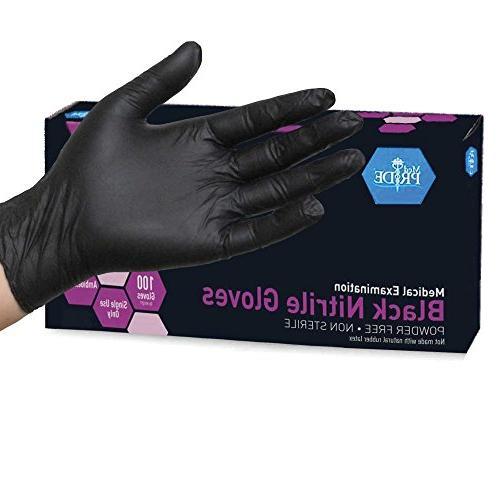 Medpride Nitrile Powder-Free Exam Gloves, Black, Small, 100